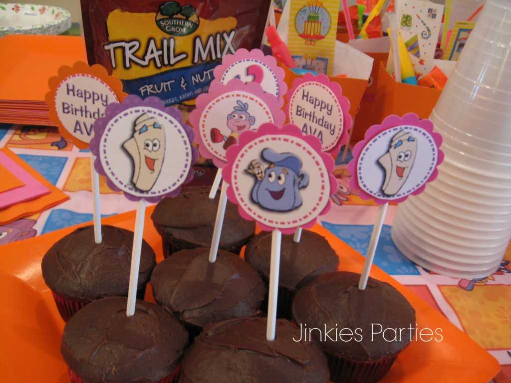 Dora the explorer cupcake toppers by Jinkies Parties on 31 days of party planning